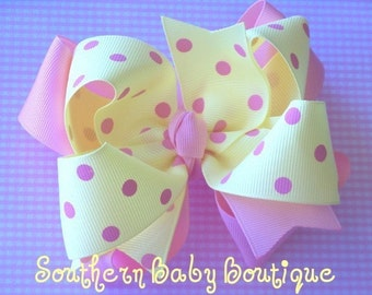 New Item----Big Boutique Doubled Layered Hair Bow Clip------Lemon with Pink Dots---