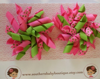 2 Boutique KORKER Hair Bows-----LIME Green with HOT Pink Dots-----