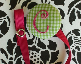 NEW---Boutique Monogrammed Baby Toddler Girl---Paci Clip---Pacifier Holder---Lime Green with Shocking Pink