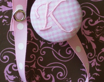 New Item---Boutique Monogrammed Baby Toddler Girl---Paci Clip---Pacifier Holder---Pink Gingham---