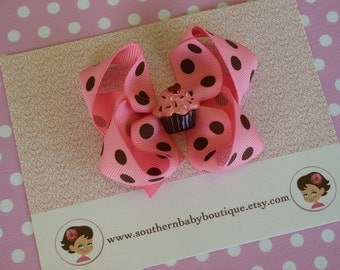 Boutique Baby Toddler Girl MEDIUM Hair Bow Clip---------SWEET CUPCAKE---------PINK with BROWN DOTS------SHOP SALE