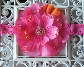 INVENTORY BLOWOUT SALE----Boutique Baby Girl Toddler Lace Headband Beaded Flower-----Hot Pink