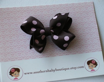 New----Little Baby Toddler Girl Hair Bows 2.5 inch---Brown with Pink Dots----Ready to Ship