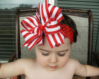 Big Boutique Doubled Layered Hair Bow Clip with Headband----Big Red and White Stripes----Candy Cane----FREE SHIPPING