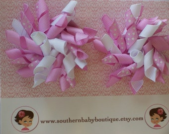 2 Boutique KORKER Hair Bows-----ORCHID with WHITE Dots----