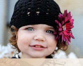 Boutique Girl Crochet Beanie Cap with Jeweled Gerber Daisy Clip---Fits 2 years and Up---You Choose Flower & Beanie Color
