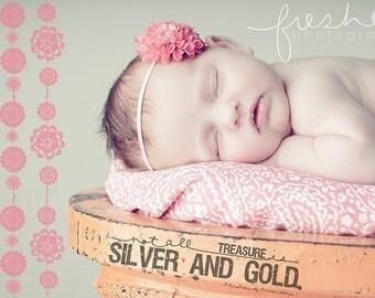 Boutique Newborn Baby Girl Toddler Soft Stretch Flower Headband-----Hot Pink POM POM-----Photo Prop