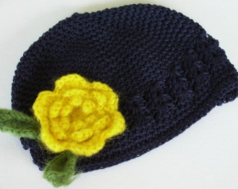 Boutique Baby Girl Crochet Beanie Cap with Mohair Flower Clip-------Fits 0-12 Mths or 2 years and up------Navy and Yellow------YOU PICK SIZE