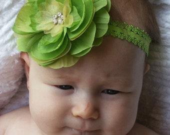 Boutique Baby Girl Toddler Soft Stretch LACE Headband RHINESTONE Flower-----LIMETINI-----Photo Prop