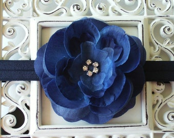 Boutique Baby Girl Toddler Soft Stretch Flower Headband-----NAVY BLUE-----Photo Prop
