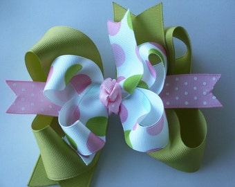 NEW-----Big Boutique Doubled Layered Hair Bow Clip----Fancy Spring Dots----