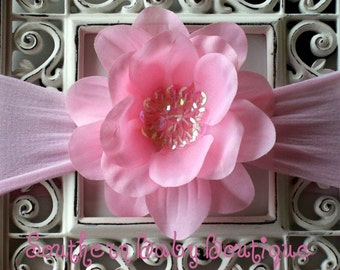 Boutique Baby Girl Sequin Flower Clip and NYLON Headband-------Bashful Pink-----Photo Prop