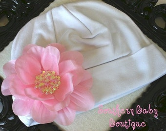 Boutique Knit Beanie Cap with SEQUIN Flower Clip---Fits 0-6 Months---WHITE with PINK