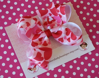 NEW----Boutique Hair Bow Clip-----Hearts Hearts Hearts-----White Red Hot Pink----FREE SHIPPING