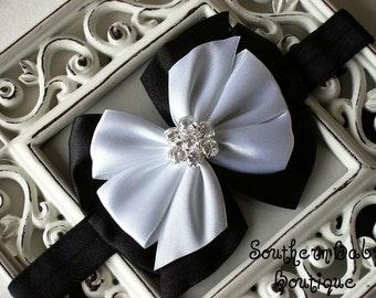 NEW ITEM----Boutique Satin Rhinestone Bow Headband-----Tuxedo Chic---Sale Sale Sale