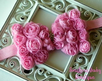 INVENTORY BLOWOUT SALE----Boutique Baby Girl Headband with Rhinestone Rose Flower Bow---Bubblegum Pink---Romantic Couture