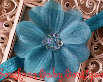 STEAL of the DAY-----Boutique Baby Girl Toddler Flower Headband-----Aquarium-----Photo Prop