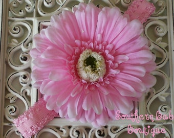 INVENTORY BLOWOUT SALE-----Boutique Baby Girl Toddler Flower Headband-----Baby Pink Passion-----Photo Prop