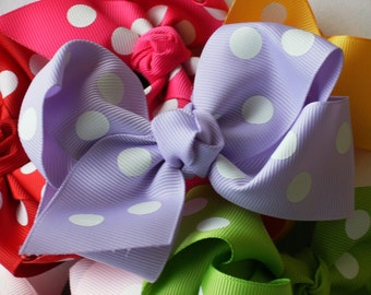 Boutique Baby Toddler Big Girl Hair Bows 4 Inch---YOU CHOOSE 3---Polka Dots