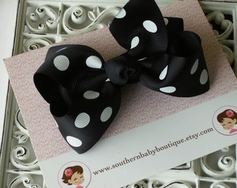 SUMMER SALE----Boutique Large Hair Bow Clip---Polka Dots---Black
