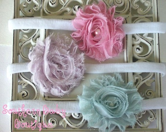 INVENTORY BLOWOUT SALE---Boutique Baby Girl Toddler Frayed Shabby Flower Headband Set----Shabby Trio-----Photo Prop