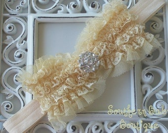 NEW ITEM----Boutique Baby Girl Headband with Rhinestone Lace Bow------Butter Creme-------Victorian Couture