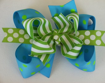NEW ITEM---Big Boutique Doubled Layered Hair Bow Clip---FANCY Turquoise and Lime Dots