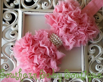 INVENTORY BLOWOUT SALE----Boutique Baby Girl Headband with Pearl Frayed Chiffon Bow----Pink----Romantic Couture----