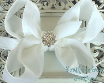 NEW ITEM----Boutique Baby Girl Interchangeable Headband with Rhinestone Velvet Bow--WHITE--Winter Romance