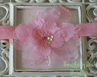 NEW ITEM----Boutique Baby Girl Toddler Lace Flower Headband-----PINK-----Charming Collection