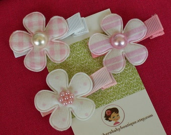 Boutique Baby Girl Toddler Clippies-----COTTAGE FLOWERS-----Pinks and Whites----Set of 3