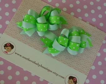 2 Boutique LOOPY Hair Bows-----LIME with MINT----