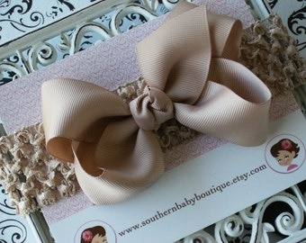 NEW ITEM----Boutique Baby Toddler Girl Hair Bow Clip with Crochet Headband----KHAKI----