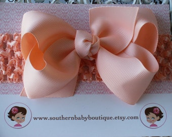 NEW----Boutique Baby Toddler Girl Hair Bow Clip with Crochet Headband----Peach