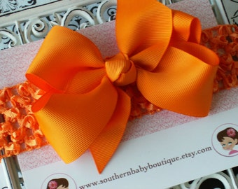 NEW ITEM----Boutique Baby Toddler Girl Hair Bow Clip with Crochet Headband----TANGERINE----