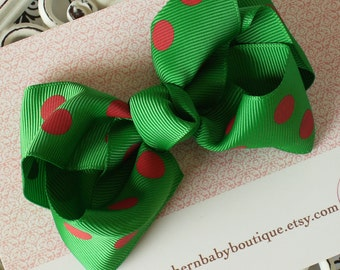 NEW ITEM------Boutique Large Hair Bow Clip-----Polka Dots-----Emerald Green and Red----Ready to Ship