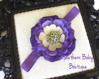 NEW ITEM----Boutique Baby Girl Headband with Rhinestone Rose Flower-------PURPLE-------Spring Collection
