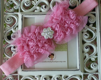NEW ITEM----Boutique Baby Girl Headband with Rhinestone Lace Bow-------BUBBLEGUM Pink-------Victorian Couture