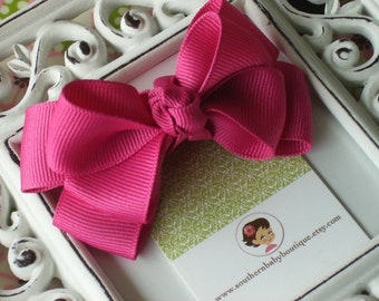 NEW ITEM---Boutique Double Medium Hair Bow Clip---Shocking Pink