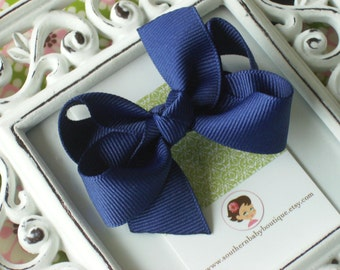 NEW ITEM------Boutique Small Hair Bow Clip-----Navy Blue