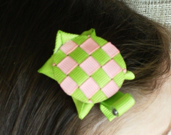 New Item---Boutique Hand Sculpted Ribbon 3-D Hair Clip Clippie---Little Miss Murtle the Turtle---Pink & Lime Green