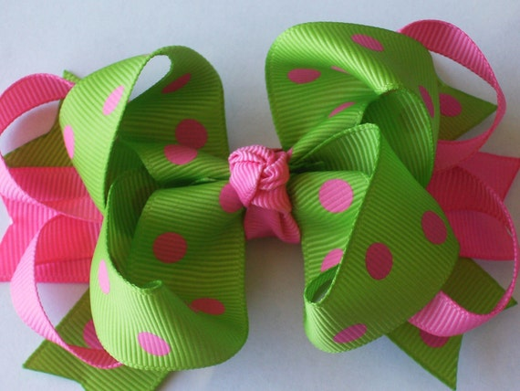 Boutique Layered Girl Hair Bow Clip------LIME GREEN and HOT PINK DOTS-----READY TO SHIP