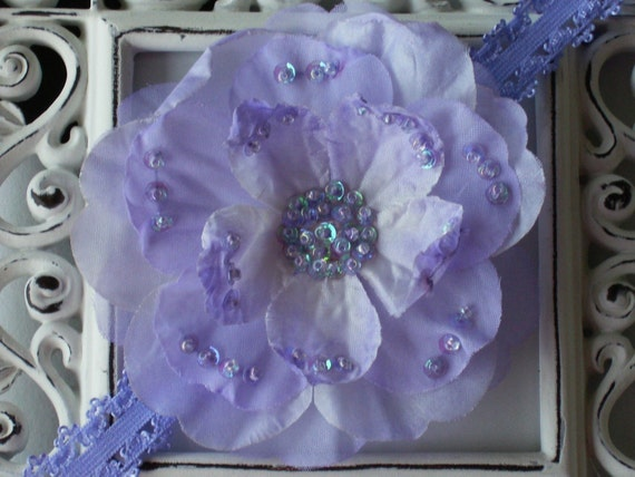 NEW----Boutique Baby Girl Toddler Lace Headband Beaded Flower-----SUMMER ORCHID-----Photo Prop