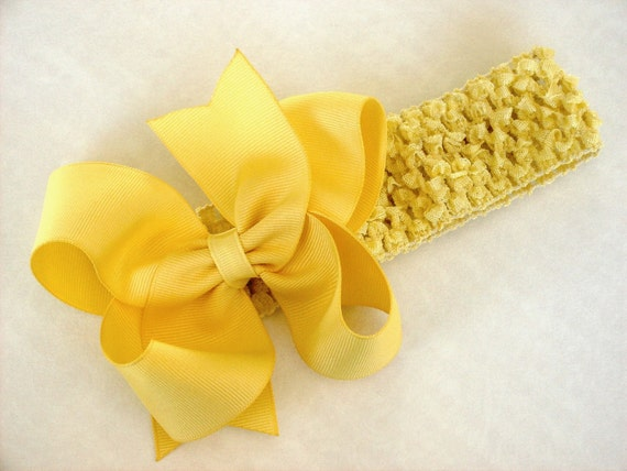 Boutique Baby Toddler Girl Hair Bow with Crochet Headband-------LEMON YELLOW-----SALE