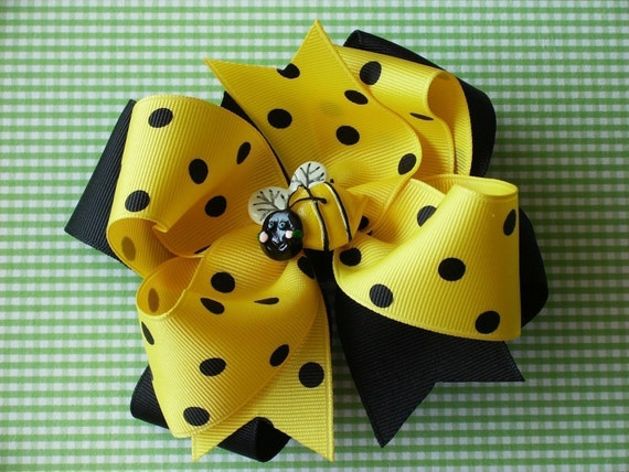 NEW----Big Boutique Doubled Layered Girl Hair Bow Clip----Miss Queen Bee----