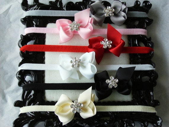Boutique Baby Girl Rhinestone Hair bow Dainty Headband-----YOU PICK COLOR----Makes a Perfect Gift