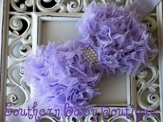 INVENTORY BLOWOUT SALE----Boutique Baby Girl Headband with Pearl Frayed Chiffon Bow---Lavender---Romantic Couture-