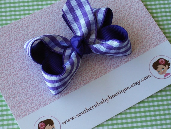 NEW ITEM------Boutique Small Hair Bow Clip-----GINGHAM-----Purple with White