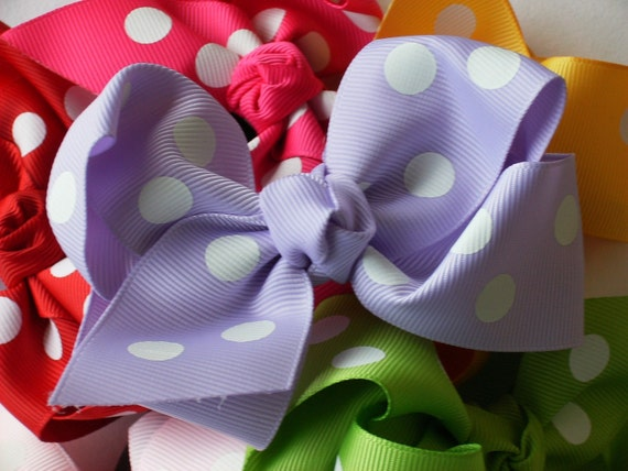 INVENTORY BLOWOUT SALE---Boutique Baby Toddler Big Girl Hair Bows 4 Inch---You Pick 3---Polka Dots