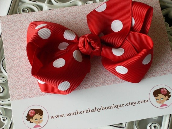 SUMMER SALE---Boutique Large Hair Bow Clip---Polka Dots---Red---